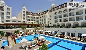 Почивка в Анталия, Турция през Юни! 7 нощувки на база All Inclusive в хотел Side Crown Serenity 5* + самолетен билет, летищни такси, багаж и трансфери, от Солвекс