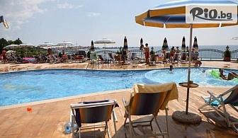 Почивка в Несебър на първа линия на плажа! Нощувка със закуска + външен панорамен басейн, шезлонг и чадър, от Хотел Мираж 3*