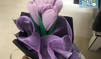 """Подарете шоколадов букет """"Целуни ме"""" с ръчно изработени цветя и 3 луксозни шоколадови бонбона от Онлайн магазин за подаръци Банана!"""