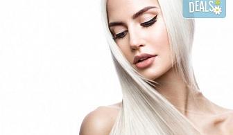 Подстригване и боядисване с боя на клиента, масажно измиване, маска според според нуждите на косата и оформяне със сешоар в салон за красота Cuatro!