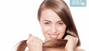 Подстригване, масажно втриване на ампула според нуждите на косата или термотерапия + оформяне със сешоар в салон Ванеси!