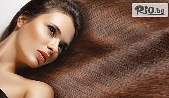 Полиране на коса с полировчик или Кератиновата терапия с парна преса за подхранване и съживяване на косата, от Салон за красота Афродита