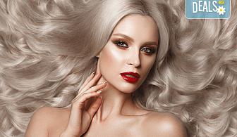 За празниците! Боядисване с боя на клиента, подстригване, арганова терапия Stapiz, заглаждащ флуид и прическа в Салон Blush Beauty