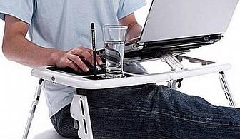Преносима и сгъваема маса за лаптоп Е-table с 2 броя вентилатори само за 22.90 лв. от Grabko.bg