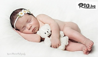 Професионална фотосесия за новородени в студио, с декори и аксесоари, с 10 обработени кадъра, от Venera Milanova Photography