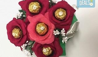 Ръчно изработен шоколадов букет с 5 бонбона и хартиени цветя от Онлайн магазин за подаръци Банана!