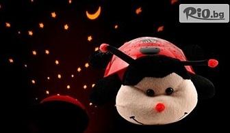 Радост за детето с Плюшена калинка - нощна лампа, проектираща съзвездия, от Hipo.bg