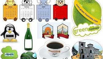 900 рекламни или фирмени ламинирани луксозни магнита с форма по избор и изображения от издателство Виктори