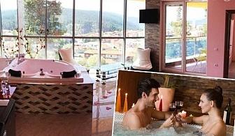Романтична почивка с панорамна гледка към яз. Доспат. Нощувка със закуска и вечеря в апартамент с джакузи от Хотел Сафи, Доспат