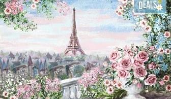 """Романтика за 14-ти февруари! 3 часа рисуване на тема """"Париж"""", с напътствията на професионален художник + чаша вино и минерална вода в Арт ателие Багри и вино"""