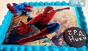 За рожден ден! Детска торта 16 парчета със снимка на любим герой, блат от мъфини, шоколадов крем и надпис пожелание от Muffin House!