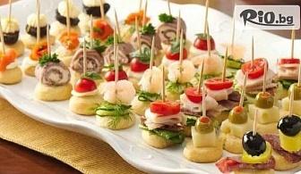 Само за ценители! Плато вкусни хапки - 100, 149 или 170 броя - аранжирани и декорирани за директно сервиране, от Кулинарна Работилница Deli4i