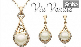 "Сет перлени бижута ""Принцеса"" - колие и обеци с австрийски кристали и златно покритие"