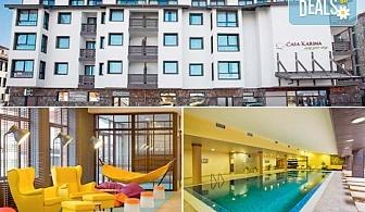 Ски почивка през март в хотел Каза Карина 4*, Банско! 1 нощувка със закуска и вечеря, ползване на вътрешен басейн, парна баня и сауна, безплатно за дете до 3.99г.!