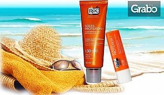 Слънцезащитен комплект RoC Soleil Protexion - матиращ флуид за лице и балсам за устни, с фактор SPF 30