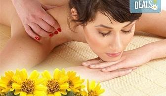 На специални празнични цени! 60-минутен болкоуспокояващ масаж ''Бабините разтривки'' на цяло тяло с арника в студио Giro!