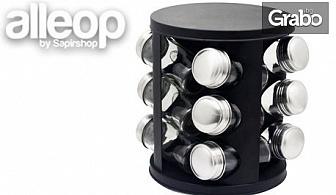 12 стъклени бурканчета за подправки на въртяща се основа