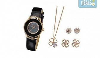 Стилен комплект за любимата жена на Pierre Cardin - часовник, 2 чифта обици и колие в цвят по избор!