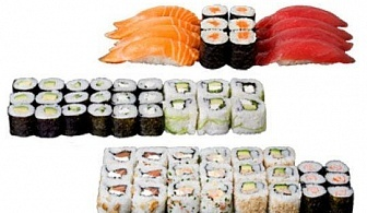 Супер предложение от Sushi King! 50 броя хапки със сьомга, пушена скумрия, нори, авокадо и японски сосове в Суши сет Даймьо!
