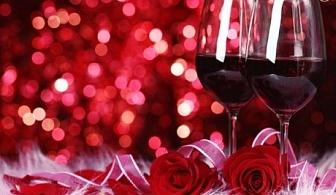 Свети Валентин в Мелник! Две нощувки, закуски + Романтична вечеря, бутилка шампанско и плато плодове за ДВАМА в хотел Речен Рай