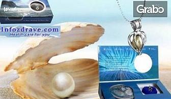 Тайнствена перла в истинска мида, в комплект с колие