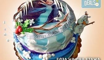 """Тематична 3D торта """"Замръзналото кралство"""" от 12 до 37 парчетата - кръгла, голяма правоъгълна или триизмерна кукла Елза от Сладкарница Джорджо Джани!"""