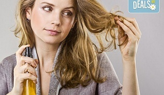 Терапия за коса с хиалурон за фини, късащи се коси, подстригване, масажно измиване, филър с хиалурон и прическа в студио за красота LD
