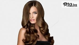 Терапия с UV преса за възстановяване и реструктуриране на косъма или Масажно измиване, маска, изсушаване с четка и сешоар + подарък: обем в корените, от Салон за красота Скарлет