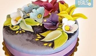 Торта с цветя! Празнична 3D торта с пъстри цветя, дизайн на Сладкарница Джорджо Джани