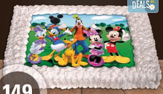 Торта Мики Маус, с друг приказен герой или със снимка на клиента: 8, 12, 16, 20, 25 или 30 парчета от Сладкарница Джорджо Джани