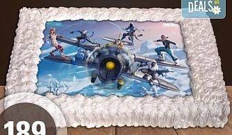 Торти за момчета! Вземете голяма торта 20/ 25/ 30 парчета със снимка на герои от любимите детски филмчета - Нинджаго, Костенурките Нинджа, Спайдърмен и други от Сладкарница Джорджо Джани!