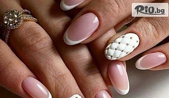 Укрепване на естествени нокти с гел + подарък френч маникюр с 2 готови декорации, от MNJ Studio за красота