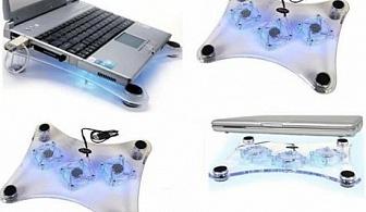 USB охладител за лаптоп с 3 LED осветени вентилатора само за 6.80 лв. от Grabko.bg