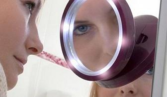 Увеличително дамско огледало с LED подсветка
