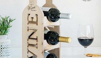 Винтидж дървена поставка за вино