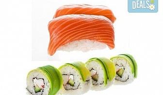 """Вкусът на Изтока! Суши сет HAYABUSA с 96 броя суши хапки със сьомга, риба тон, авокадо, нори, манго и сирене """"Philadelphia"""" от Sushi King!"""