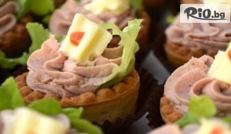 Вкусно хапване! Коктейлни хапки за всеки повод - 90, 140 или 170 броя, аранжирани и декорирани за директно сервиране, от Криейтив кетъринг