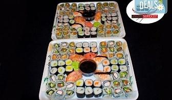 Вкусно и изгодно! 120 суши хапки с пушена сьомга, филаделфия и скариди от Sushi Market!