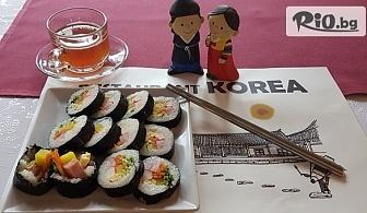 """Вкусно корейско суши """"Кимбап"""" + домашно приготвен чай от джинджър и канела, от Ресторант Корея"""