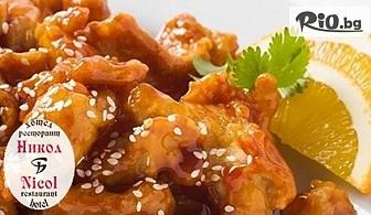1.5 кг вкусно плато - пилешки флейки с корнфлейкс и сусам, пресни пържени картофки и млечен сос, от Ресторант Nicol