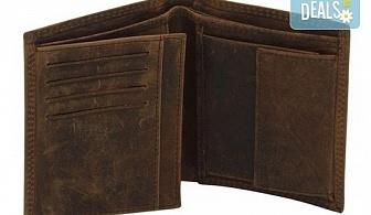 Вземете на изгодна цена! Портфейл от естествена кожа в ловджийски, винтидж стил!