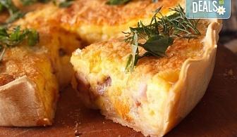 Вземете мини киш с френски сирена, сметана, зеленчуци и бекон - 15бр. в кутия от My Style Event!