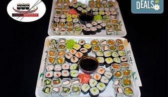 Вземете 128 суши хапки с пушена сьомга, филаделфия и херинга. С възможност за доставка за София от Sushi Market!