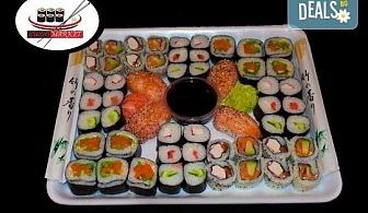 Вземете 54 вкусни суши хапки със сурими раци, пушена сьомга, филаделфия и розова херинга от Sushi Market!