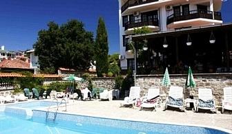 1 - 15 Юли в Слънчев бряг! Нощувка, закуска и вечеря + басейн в хотел Аугуста - на 200м. от плажа