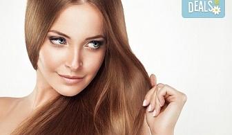 Забележителна коса! Подстригване + кератинова терапия и стилизиране на прическа със сешоар в Wave Studio-НДК