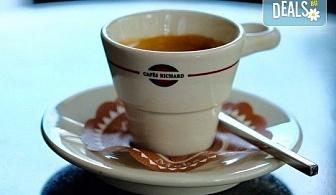 Започнете деня с чаша кафе Cafes Richard Maragogype или чай Cuida Te + екзотичен кокосов трюфел или лешников бонбон от бутик KafeMania!