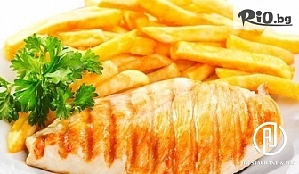 Зелена салата + Пилешка пържола на скара с домашно пържени картофи, от AJ Restaurant andamp;Bar