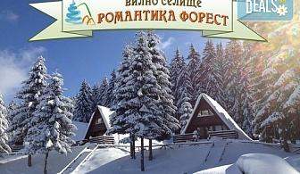 Зимна почивка във Вилно селище Романтика Форест 2*, Батак! 1 нощувка със закуска или закуска и вечеря, безплатно за дете до 3.99г.!